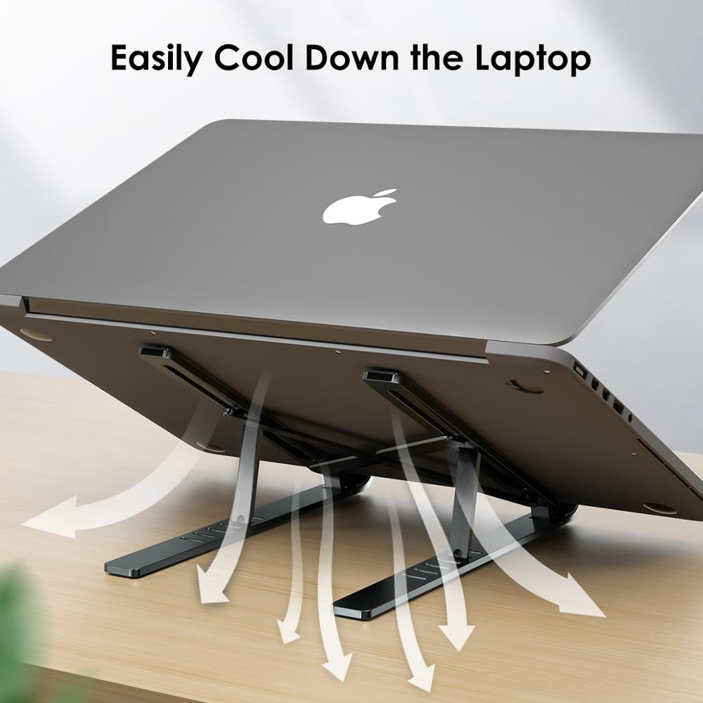 LINGCHEN Laptop Stand for MacBook Pro Air Notebook Foldable Aluminium Alloy Laptop Holder Bracket Laptop Holder for Notebook