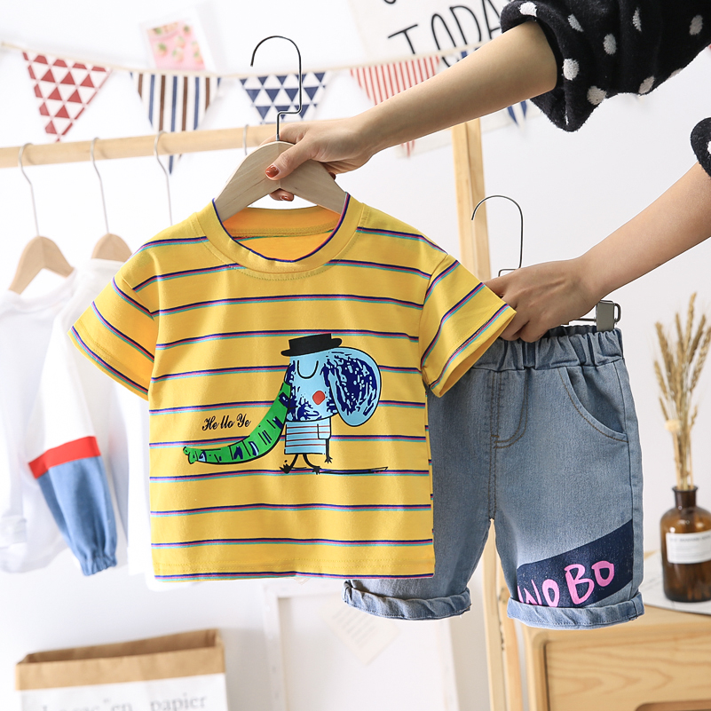 Infant Baby Boys Clothing Set For Kids Boys Gentleman suit Summer Casual Clothes Set stripe Top Short Jeans Suits 1