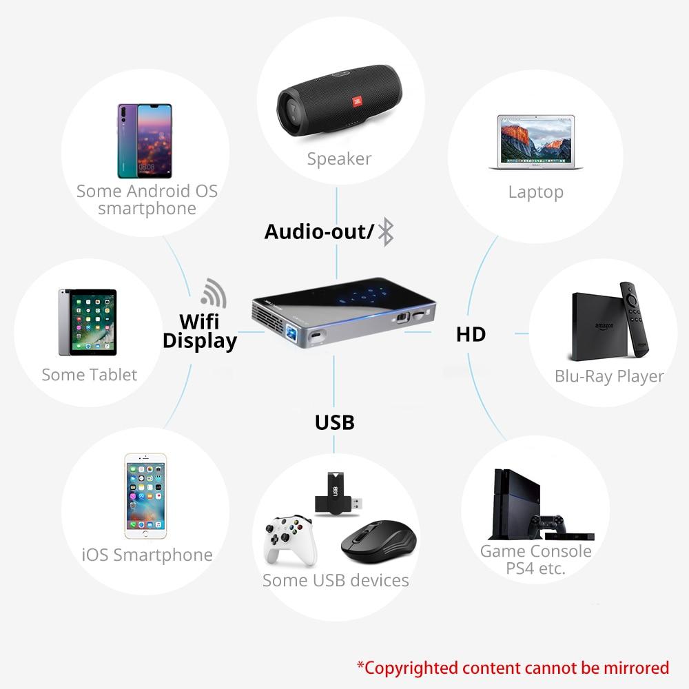 BYINTEK UFO P9 (P8I) Android 7.1 OS Pico poche HD Portable Micro WIFI Bluetooth Mini LED projecteur DLP avec batterie - 6