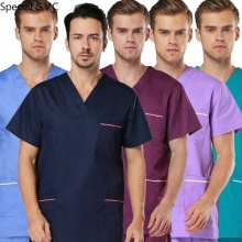 Men's Scrub TOP Color Blocking Design Short Sleeved V-collar Shirt Pure Cotton Medical Uniforms with Side Vent ( Just A Top)