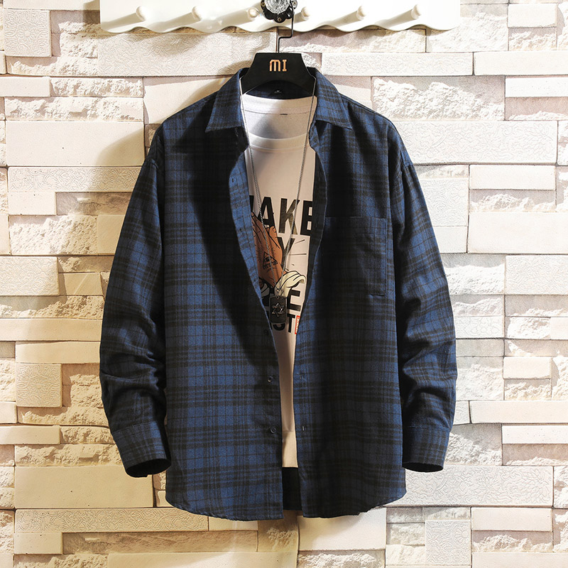 Casual Spring Autumn Plaid Shirt Men Long Sleeve High Quality 2019 Japan Style Loose Streetwear Plus Size M-5XL Clothes
