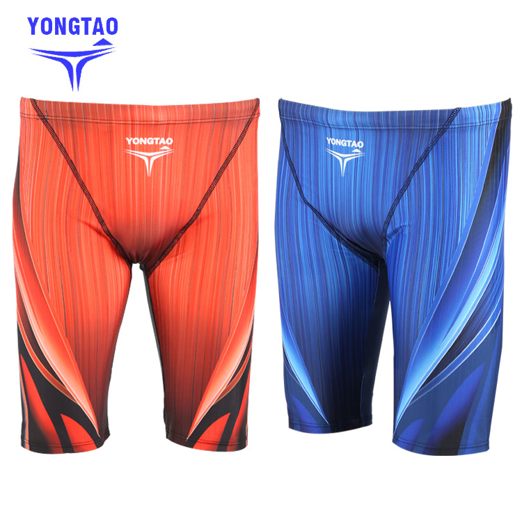 New Products 5 MEN'S Swimming Trunks Knee-Length Swimming Trunks Long Swimming Trunks Digital Printing Drainage Line Profession