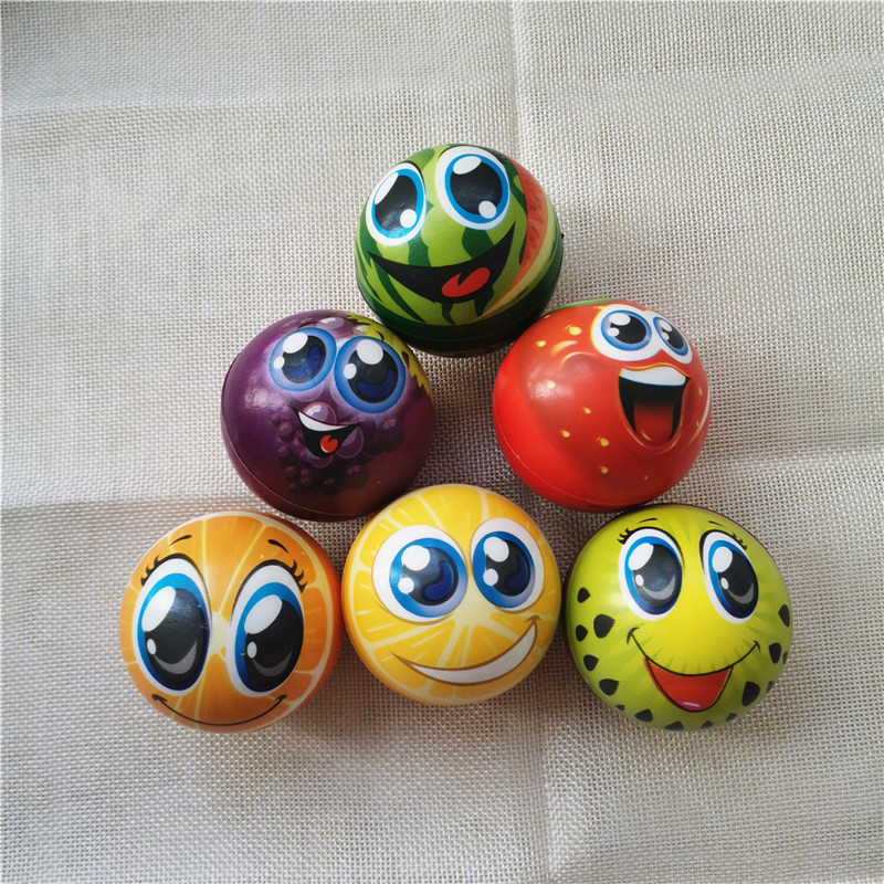 6.3cm Coloful Fruits Foam PU Balls Funny Smiley Face Stress Balls Squeeze Anti Stress Balls Toys For Kids Children 4pcs/lot