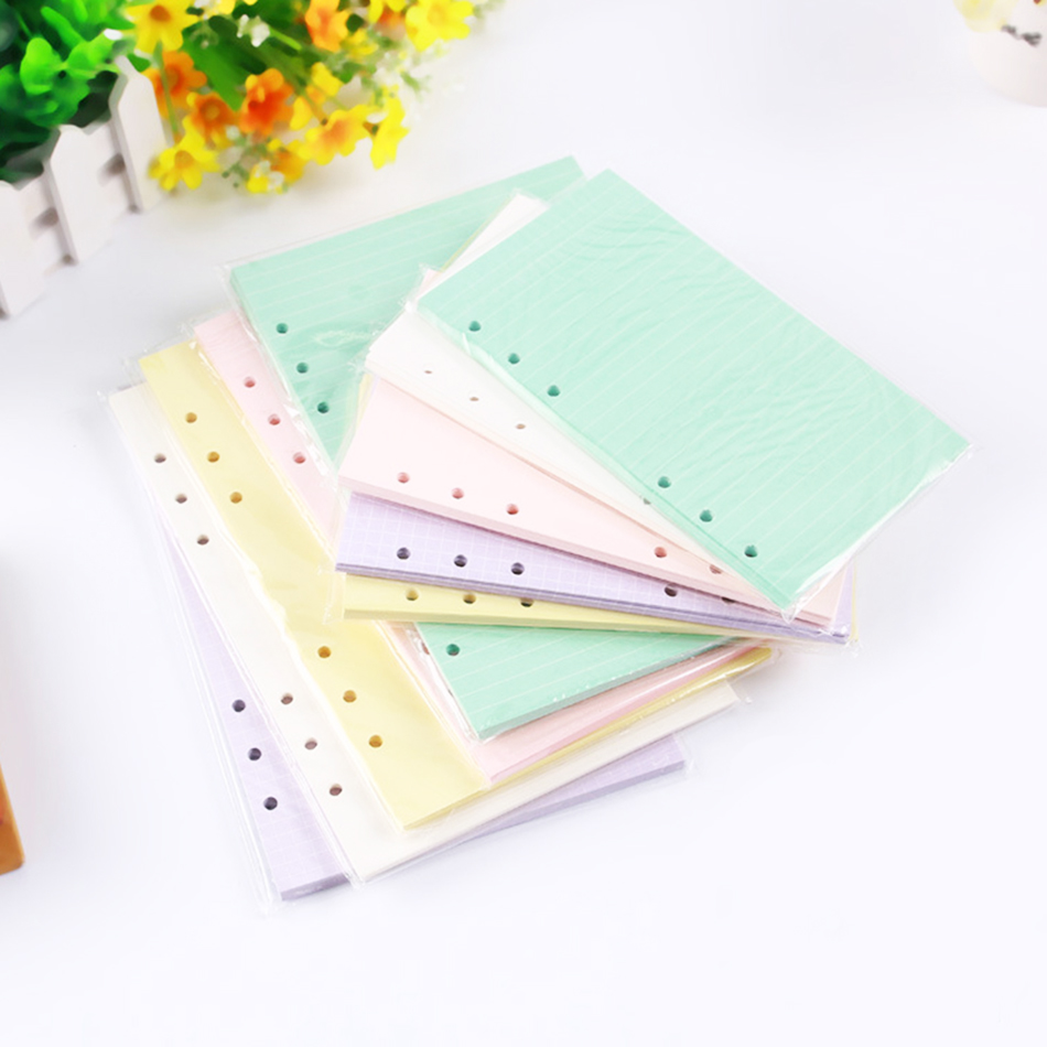 Daily Memos A5a6 Colorful Notebook Accessories Solid Color Planner Inners Filler Papers 40 Sheet/ Set Inside