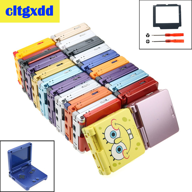 Cltgxdd 漫画フルハウジングシェルとボタンの交換任天堂ゲームボーイアドバンス sp gba sp ゲームコンソールカバーケース