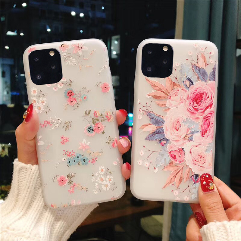 USLION Vintage Flower Rose Phone Cover For IPhone 11 X XR XS Max Soft Silicone TPU Back Case For IPhone 6S 7 8 7Plus Fitted Case