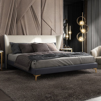 Leather Bed 1.51.8 M Simple Solid Wood Master Bedroom Wedding Bed Italian High End queen size bed