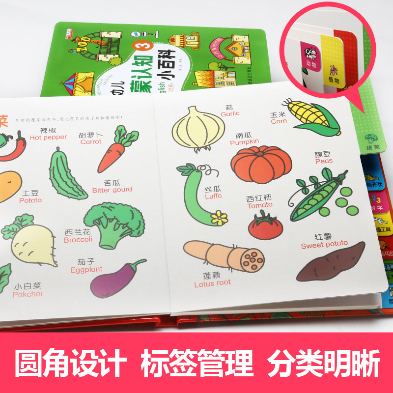 CHILDREN'S ENLIGHTEN Cognitive Encyclopedia 0-3-6-Year-Old Circular Bead Bilingual Picture Book Does Not Damage Baby Hand