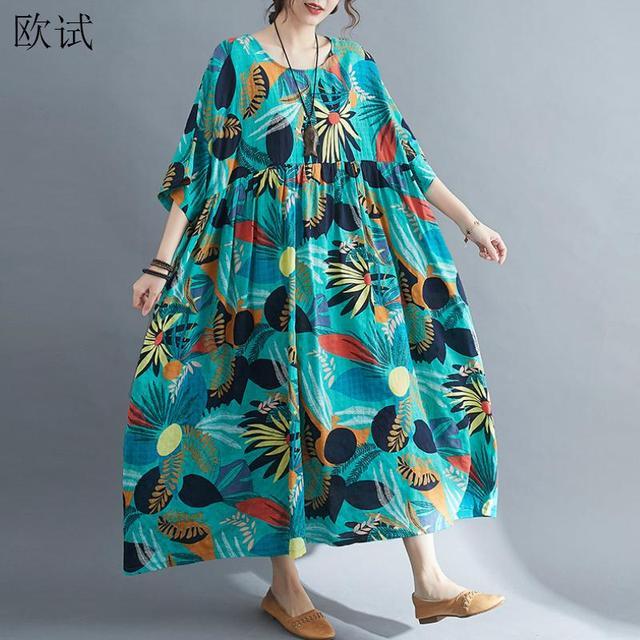 Plus Size Summer Beach Dress Women Floral Casual Oversized Ladies Dresses 4XL 5XL 6XL Vestidos Robe Femme Holiday Dress 2021 New 1