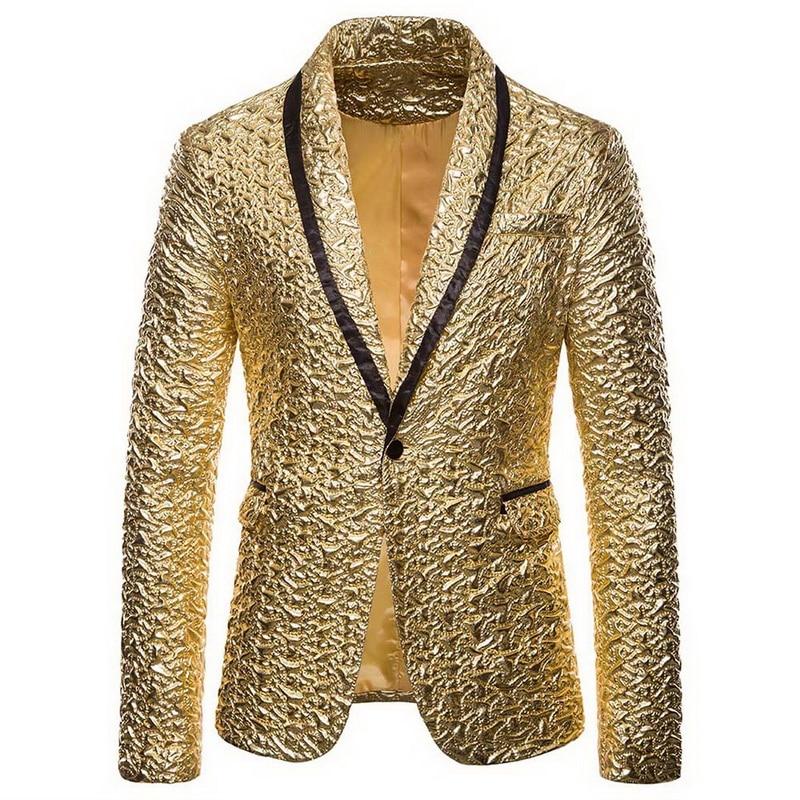 Hot Men Shiny Gold Sequin Glitter Embellished Blazer Jacket Men Nightclub Blazer Wedding Party Suit Jacket Stage Singers Clothes