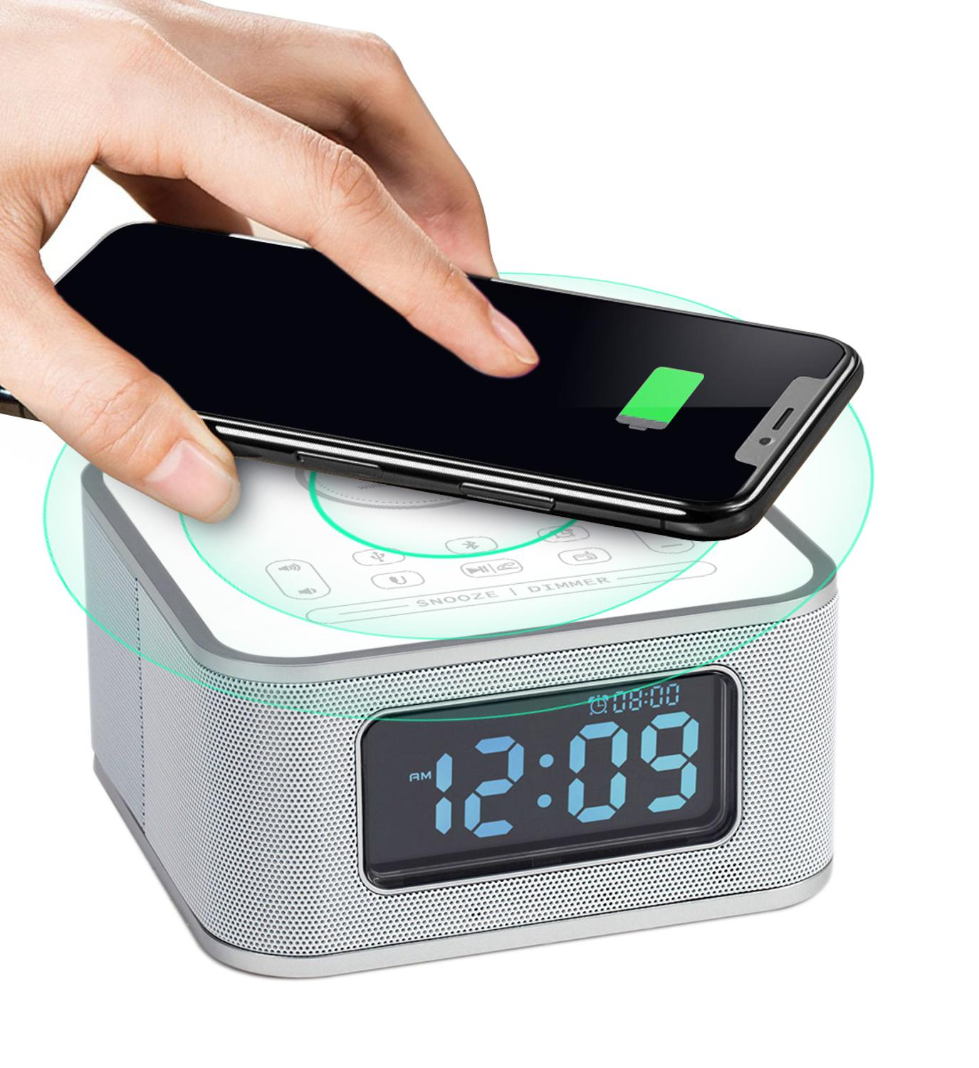 Homtime Wireless charging speaker with FM radio Bluetooth speakers USB charger microphone for bedroom portable speakerdesk clock