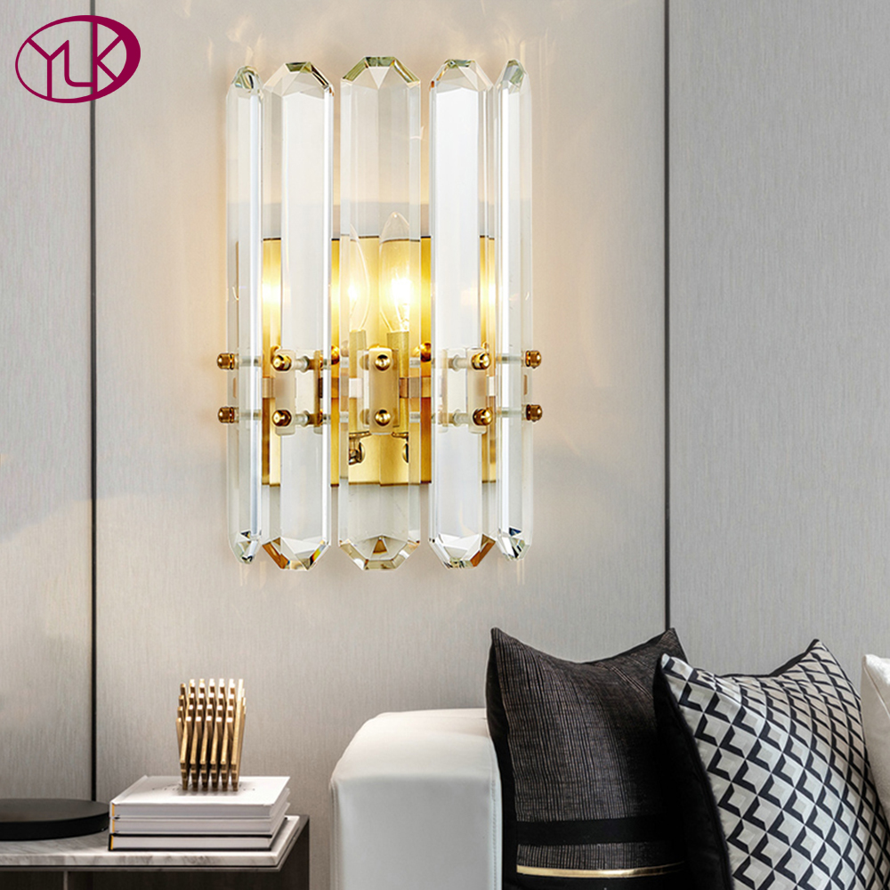 Youlaike  Gold Wall Sconce Lighting AC90 260V Modern Crystal Wall Lamp Bedroom Living Room LED Light Fixtures LED Indoor Wall Lamps     - title=