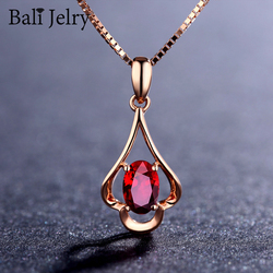 Bali Jelry Retro Necklace Silver 925 Jewelry Oval Shaped Ruby Gemstone Pendant Accessories for Women Wedding Engagement Party