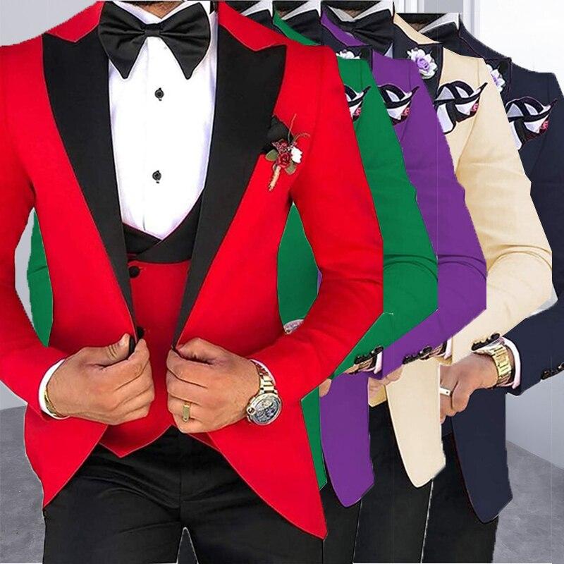 Мужские костюмы из 3 предметов для мужчин на заказ Terno Slim Fit для жениха на заказ Черная шаль с отворотом зеленый Свадебный мужской костюм Masculino