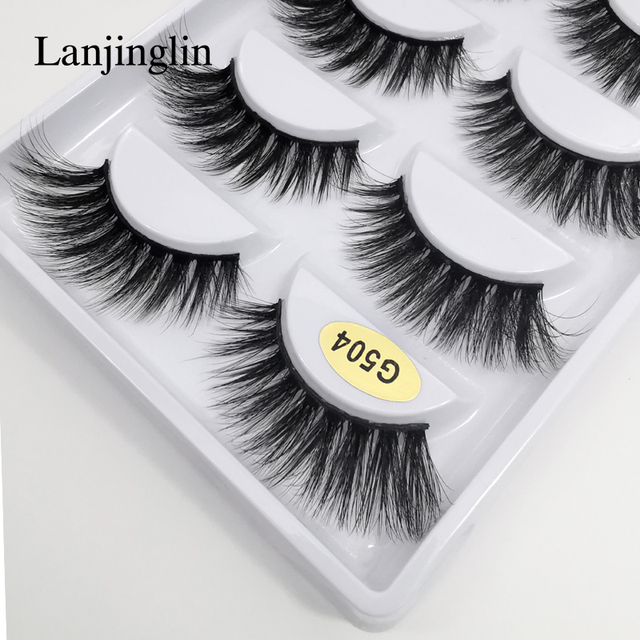 LANJINGLIN 1/3/5 pairs 3D mink hair false eyelashes natural long eye lashes wispy makeup eyelash extension sexy fake lash cilios 1