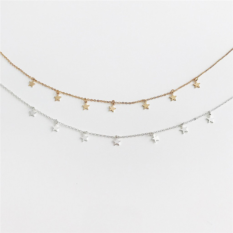 Gold Color Star Party Women's Pendant Necklace Fashion Female Choker Necklaces Jewelry Simple Ladies Pentagon-Star Jewelry Gifts 3