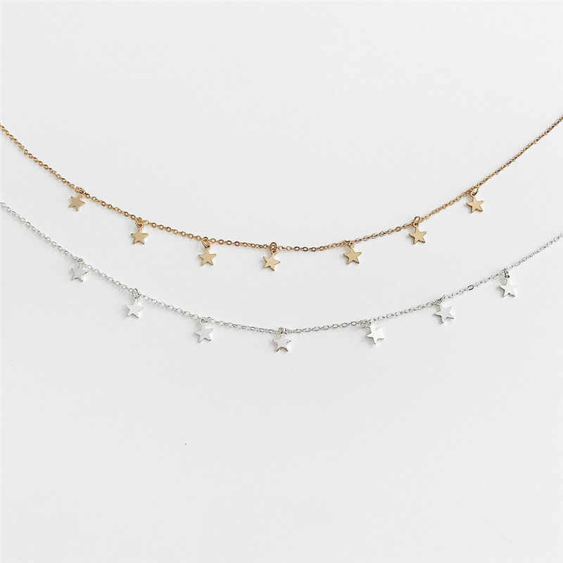 Cor de ouro estrela festa feminina pingente colar moda feminina gargantilha colares jóias simples senhoras pentágono-estrela jóias presentes