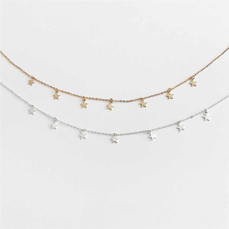 Warna Emas Bintang Pesta Wanita Liontin Kalung Fashion Wanita Kalung Kalung Perhiasan Wanita Sederhana Pentagon Bintang Perhiasan Hadiah