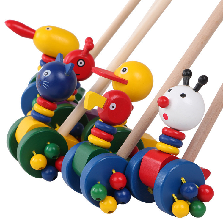Children'S Educational Toy New Style Cartoon Animal Trolley Wooden Single Pole Cart Learner Toy