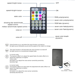 Image 4 - 16w rgbw twinkle inteligente bluetooth app kit de teto estrela de fibra óptica misturada 335/430 pces *(0.75 + 1.0 + 1.5mm) com efeito de meteoro tiro