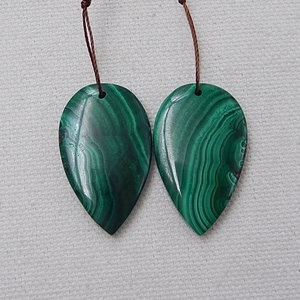 Image 2 - Water Drop Green Color Semi Finished Products Natural Stone Malachite Handmade Earrings For Women 33x20x5mm 14.7g