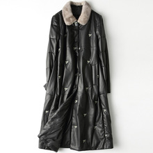 High Quality Black Printed Autumn Winter Mink Fur Collar Long Sheepskin Fur Down Coat SheepSkin White Duck Down Office Jacket