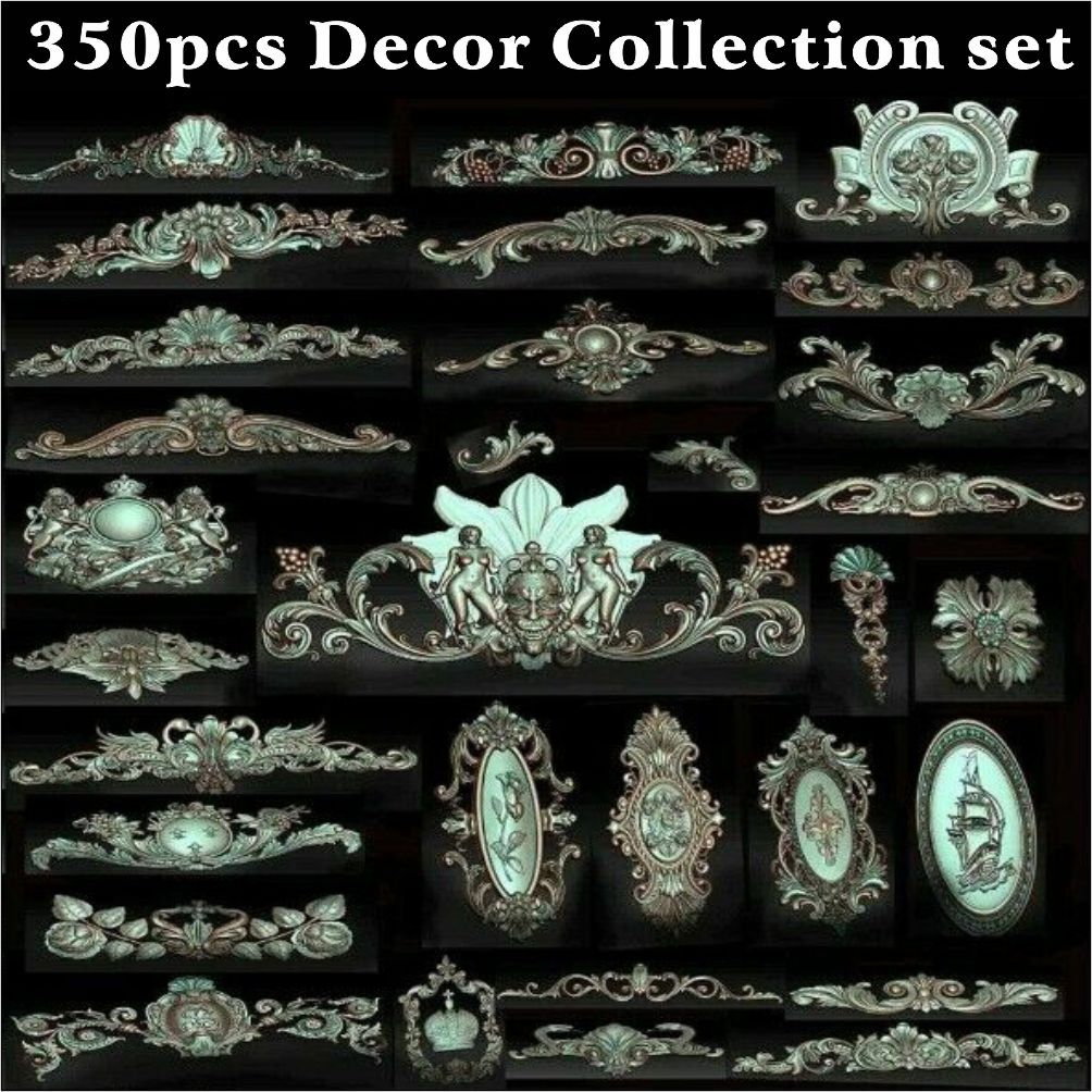 300 pcs Decor 3d STL Models for CNC Router Vetric Artcam  aspire