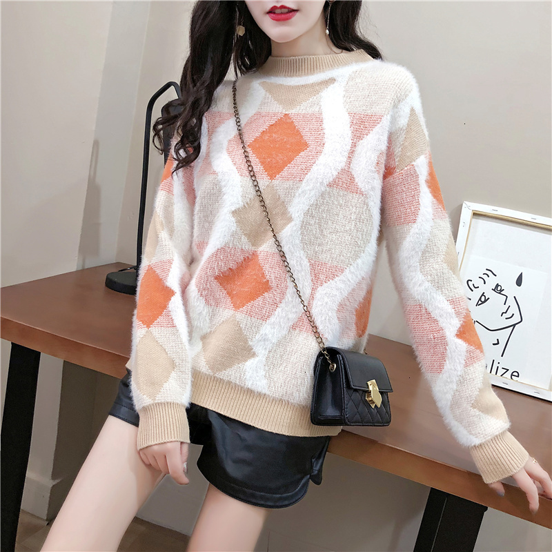 Loose Geometry Twist Casual O-Neck Warm Knitted Sweater Pullover Autumn Knitwear Sueter Mujer Long Sleeve   Winter Women New