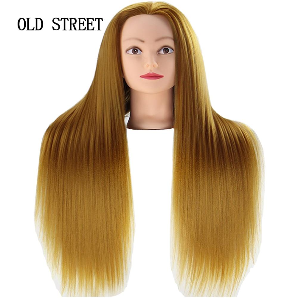 Salon Mannequin Head For Editing Beauty Hair With Yaki Synthetic Hair Golden 24inch Barber Training  Model Head