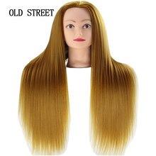 Salão de beleza manequim cabeça para edição de cabelo com yaki cabelo sintético dourado 24 polegada barbeiro formação modelo cabeça para penteados