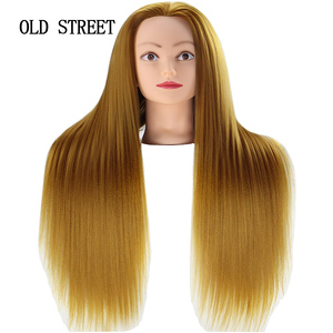 Salon Mannequin Head For Editing Beauty Hair With Yaki Synthetic Hair Golden 24inch Barber Training Model Head For Hairstyles