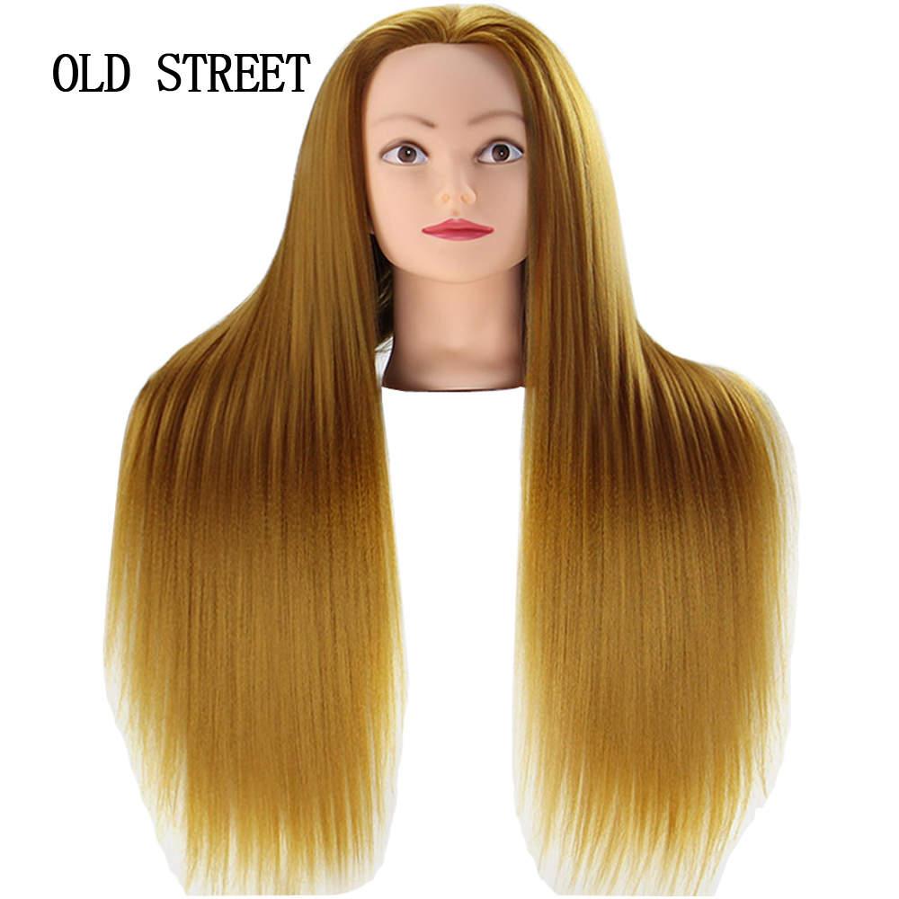 Salon Mannequin Head For Editing Beauty Hair With Yaki Synthetic Hair Golden 24inch Barber Training Model Head