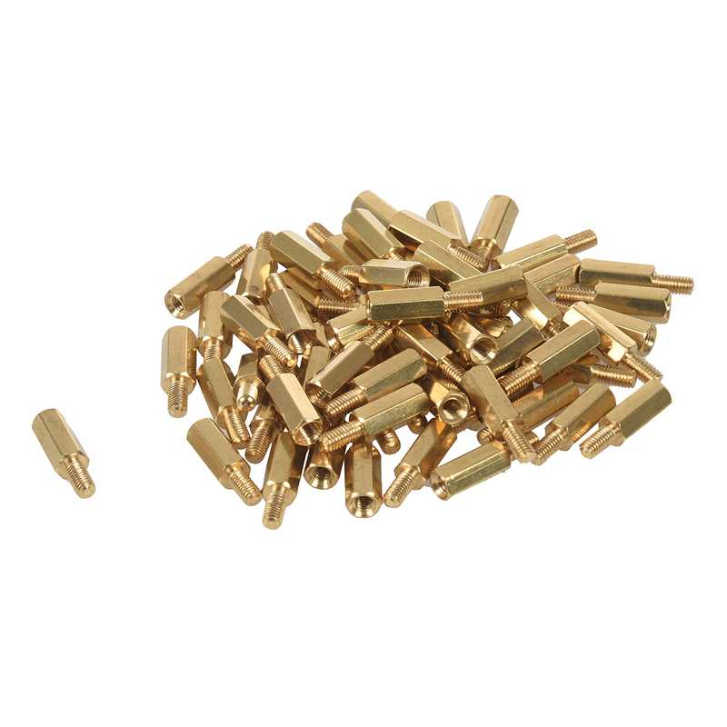 50 Pcs <font><b>M3</b></font> Male x <font><b>M3</b></font> Female 11mm Length <font><b>Brass</b></font> <font><b>Screw</b></font> Thread PCB Stand-off Spacers image