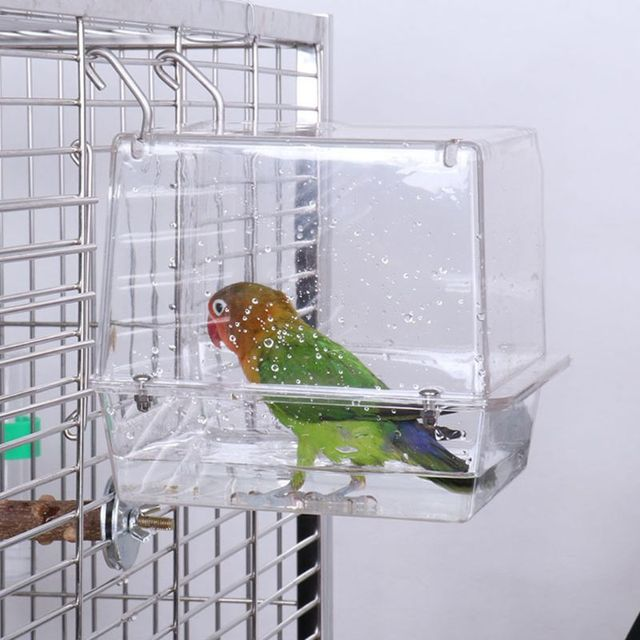 Double Hook Hanging Upgraded Bird Bath Cage Adjustable Large with Clear View Pet 1