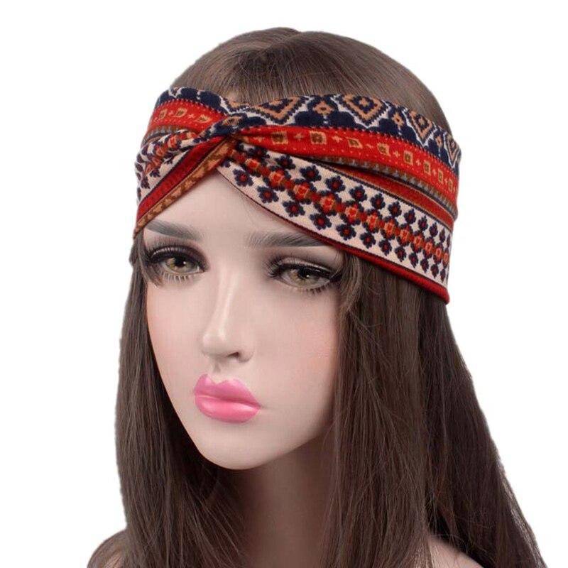 New Fabric Hair Jewelry National Wind Diamond Cross Hoop Headwear Scrunchie Hair Ties African Head Wraps Girls Hair Accessories