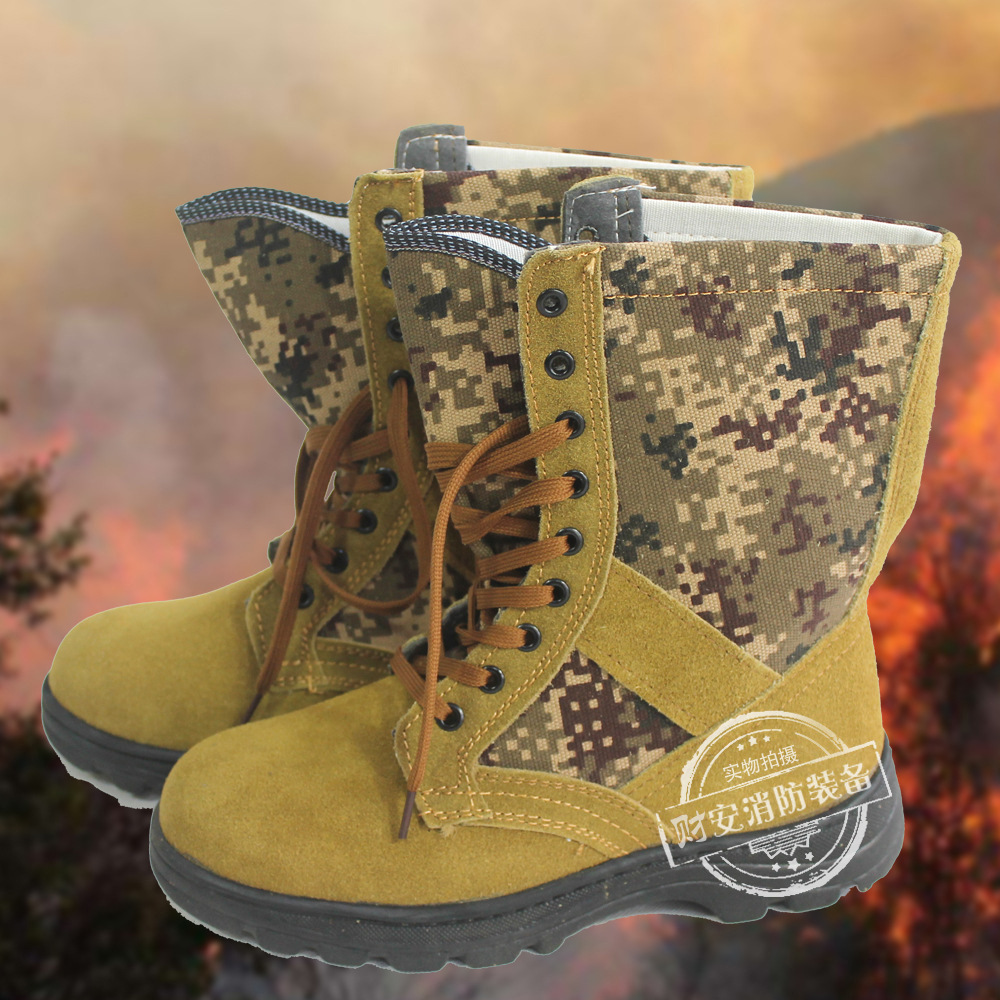 Fire-Fighting Boots Firefighter Rescue Boots Hiking Boots Jungle Digital Forest Camouflage  Anti-Puncture Anti-Slip