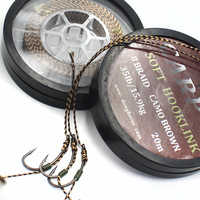 20m Carp Fishing Line Soft Hook Link Uncoated Braid Line Camo Brown Hooklink for Hair Rig 15 25 35LB Carp Coarse Fishing Tackle