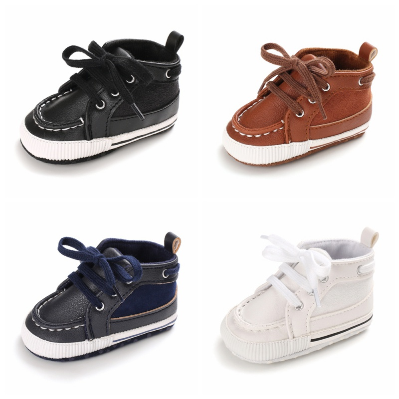 Infant Baby Boy Soft Sole PU Spring / Autumn Leather First Walkers Crib Shoes 0-18 Months