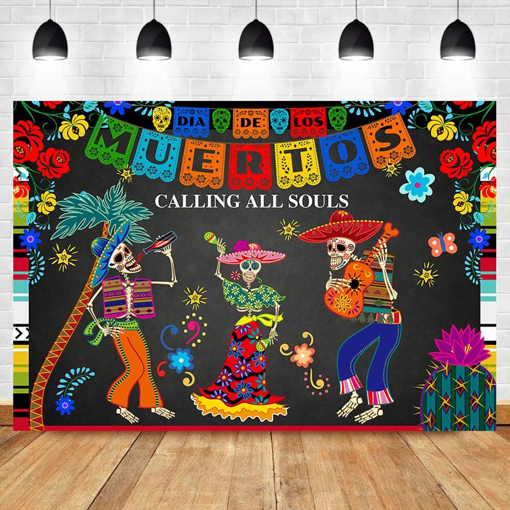 Day of The Dead Backdrop Fotografia Fundo Do Crânio Do Açúcar Mexicano Dia DE Los Muertos Partido Vestir-se Festa Bandeira decoração