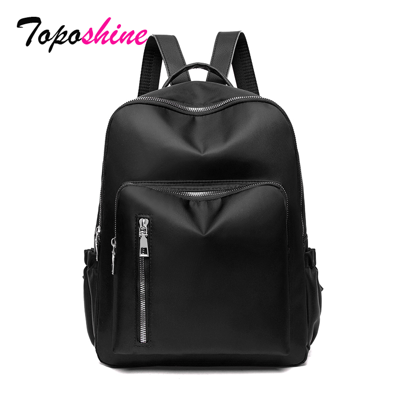 Toposhine Front Zipper Pocket Women Backpack Oxford Fabric Bags Soft School Bags Women Travel Shoulder Bags Fashion Backpack