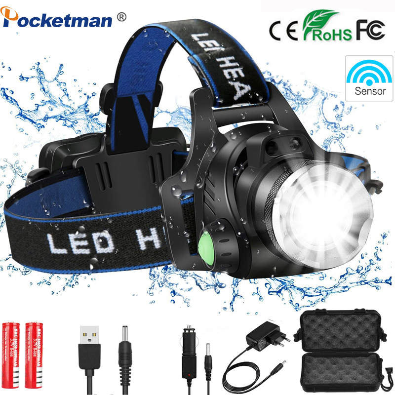 8000LM Headlamp Led Motion Sensor Rechargeable Headlight Head Lamp 3 Modes Zoomable Waterproof Flashlight Head Power By 2*18650