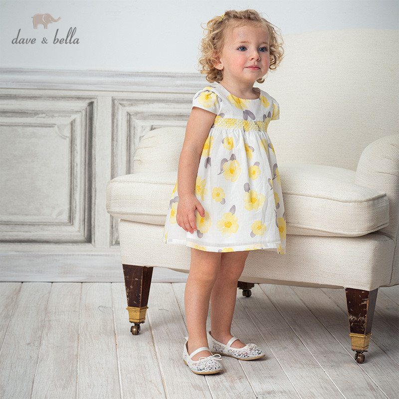 DB13064 Dave Bella Summer Baby Girl's Cute Floral Print Dress Children Fashion Party Dress Kids Infant Lolita Clothes