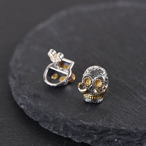 Image 4 - BALMORA 100% Real 925 Sterling Silver Skull & Long Beard Stud Earrings for Men argent homme Gift Being Old Style Fashion Jewelry