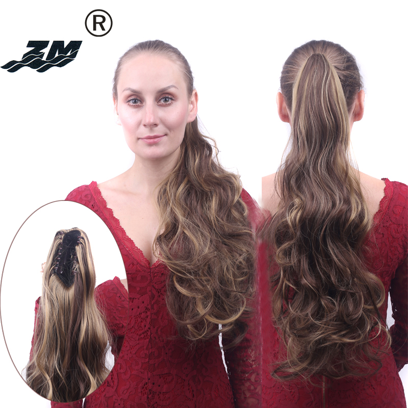Resistente ao Calor Rabo de Cavalo Grampo em Extensões de Cabelo para as Mulheres Sintético Garra Grossas Ondulado Curly Pony Tail Hairpiece Ombre Loira zm no