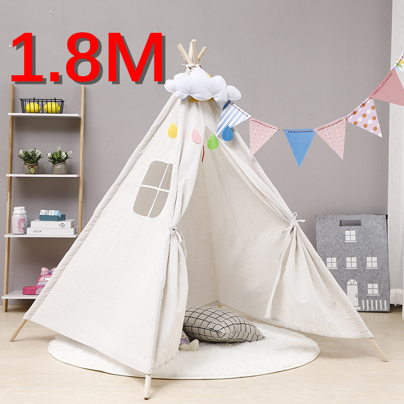 Tents Teepee Wigwam Room-Decoration Play House Tipi Indian Cotton-Canvas Kids Portable