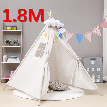1 8M przenośne namioty dla dzieci Tipi dom zabaw dla dzieci bawełniane płótno indyjski namiot zabaw Wigwam dziecko mała dekoracja pokoju Tipi tanie i dobre opinie Tkaniny CN (pochodzenie) 1 8M Tent 0-12 miesięcy 13-24 miesięcy 5-7 lat TD1031 SOFT Sport Składany tent for kids tents
