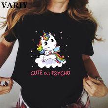 Bonito, mas psycho unicorn gráfico tshirt feminino tshirt estético harajuku camisetas das senhoras topos tshirt streetwear feminino tshirt