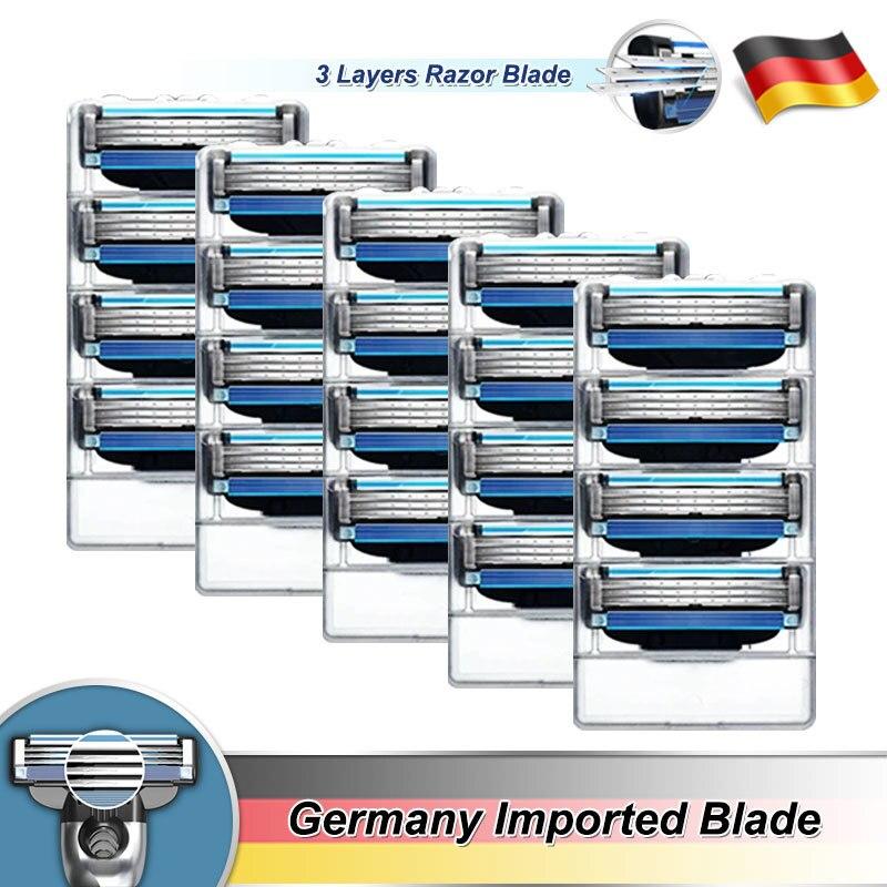 Бритвенные лезвия для бритвы для Для мужчин 3 слоя кассеты подходит Gillette Mach 3 Turbo чувствительный ручной Сменные бритвенные лезвия головки Но...