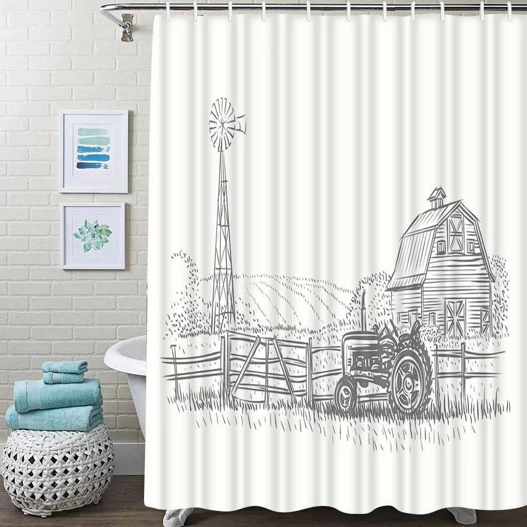 rustic farm shower curtain farmer barn rustic shower curtain waterproof fabric for bathroom decor shower curtains set with hooks