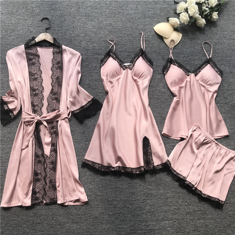 Womens Pajamas Summer 4 Pcs Sets Sexy Silk Satin Home Wear Pijama Set Women Sleepwear With Chest Pad Lingerie Femme Night Suits